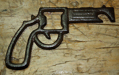 Cast Iron Rustic PISTOL Beer Bottle Opener Hand Gun Western Cowboy Texas