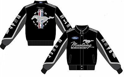 - Ford Mustang Jacket Ladies Black Twill Collage Embroidered Logos Women's Mustang