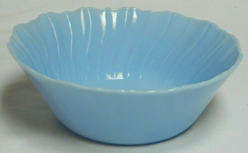 Jeannette Glass Delphite Blue Serving Bowl by McKee Petal Swirl Depression Glass
