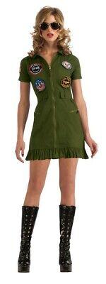 sexy Top Gun Mini Kleid grün Kostüm Pilotin Jet für Damen Damenkostüm Gr 32 - (Kleid Für Kostüm)
