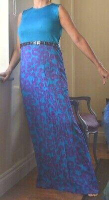 ISSA LONDON SLVLESS BLUE PURPLE LONG SLVLSS DRESS SHEATH BEJEWELED NEW SMALL