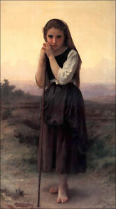 Little Shepherdess  by William-Adolphe Bouguereau Giclee Canvas Print Repro