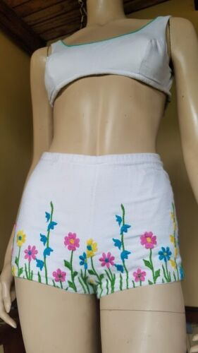 EMBROIDERED Vtg 60s FLORAL Cotton BOYSHORTS PINUP Bikini Bathing Suit XS/S