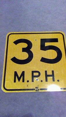 "Retired Real Road Sign SPEED LIMIT 35 MPH 18"" X 18"" Metal Sign reflective"