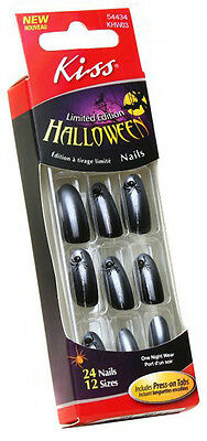 24 Kiss Halloween Costume Nails,Black Spider Design Nail,Ghost - Halloween Costumes Designs
