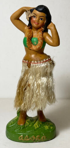 "Vintage 7"" Hawaiian Aloha Hula Girl Nodder Chalkware Japan Chenille Lei"