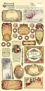 FRENCH LABELS-Crafty Secrets Vintage Die Cut Outs-Stickers-Card Making-Ephemera