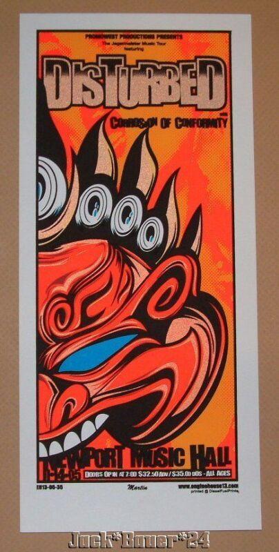Disturbed Columbus Ohio Mike Martin Concert Poster Handbill Print 2005 Night 2