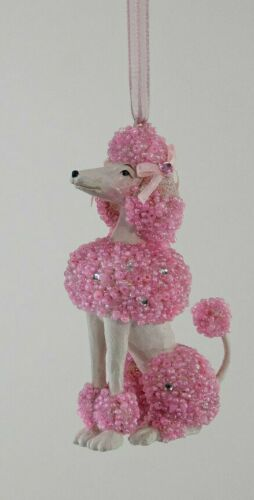 Fifi In Paris Pearl Encrusted Pink Poodle Dog  Ornament Katherines Collection