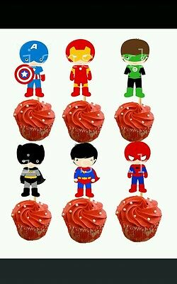 boy super heroes cupcake toppers(iron man,captain america,superman,green - Captain America Cupcake Toppers