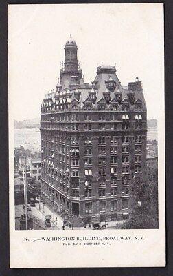 USA NY NEW YORK Washington Buildings Broadway c1902 u/b PPC by J Koehler