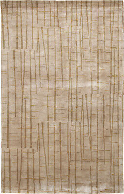 5x8 Surya Hand Knotted Wool Beige Stripes 7409 Area Rug - Ap