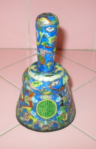 "Antique Chinese Metal Enamel 4"" Hand Bell Colorful Bats Celebrations Tin Orient"