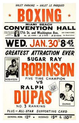 Sugar Ray Robinson vs Ralph Dupas  - LARGE POSTER  - 1963 BOXING