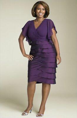 NEW ADRIANNA PAPELL $178 PURPLE FLUTTER SLEEVE TIERED DRESS SZ 14 Adrianna Papell Flutter Sleeve