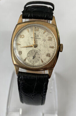 VINTAGE GENTS RECORD (LONGINES) 9CT GOLD GENTS WATCH WORKING
