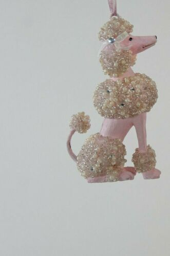 Fifi In Paris Pearl Encrusted White Poodle Dog  Ornament Katherines Collection