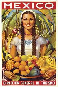 Mexico Hispanic Girl Classic Travel Poster Art 16x24