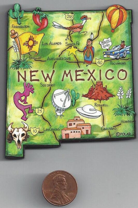 NEW MEXICO  ARTWOOD STATE MAP MAGNET  LOS ALAMOS  SANTA FE  ALBUQUERQUE CARLSBAD