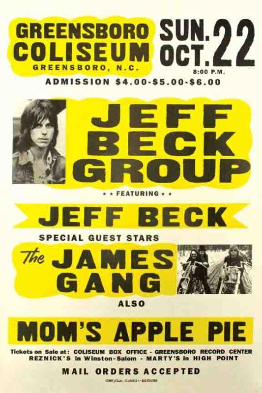 Vintage Concert  POSTER  Rare   JEFF BECK  Greensboro  NC  North Carolina  16x20