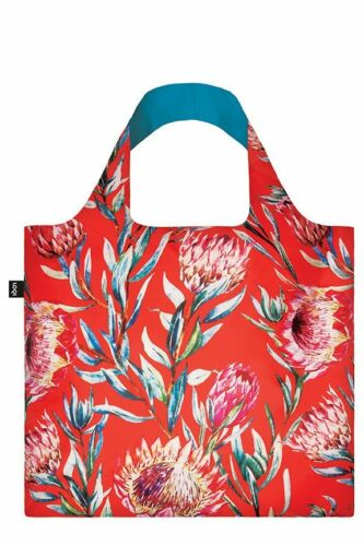 New LOQI Grocery Shopping Reusable TOTE BAG Washable SUGARBUSH Flower Floral Red