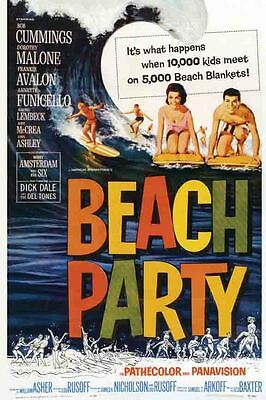 Vintage Movie  POSTER  Rare   BEACH PARTY    Surfing  Hawaii California 1960's