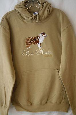 Red Merle Australian Shepherd Dog Embroidered On a Small Hooded - Australian Shepherd Sweatshirt