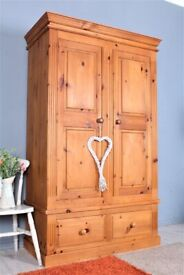 DELIVERY OPTIONS - LARGE SOLID PINE DOUBLE FARMHOUSE WARDROBE WITH 2 DRAWERS