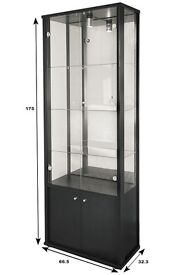 EX-DISPLAY DOUBLE GLASS DISPLAY CABINET WITH STORAGE IN BLACK