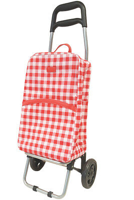 Sachi Shopping Trolly - Rolling Cart With Removable Insullated Bag Gingham