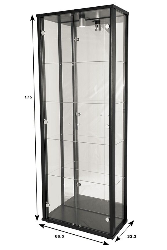 double display lockable glass display cabinet unit in black silver