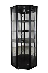 Superior Corner Oak Display Cabinets