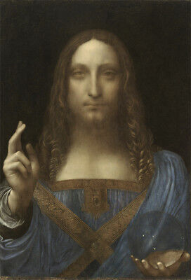 "Salvator Mundi  by Leonardo da Vinci  14""  Paper Print Repro"