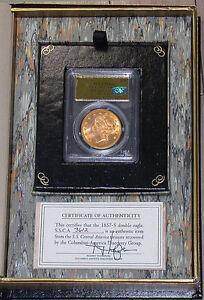1857-S-20-PCGS-MS64-Plus-CAC-S-S-Central-America-Shipwreck-Gold-Foil-Label