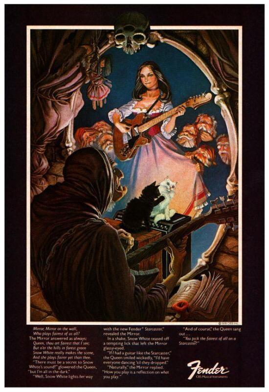 """Fender Guitars * POSTER * 24"""" Promo ad - Snow White & 7 Dwarves 1976  Starcaster"""