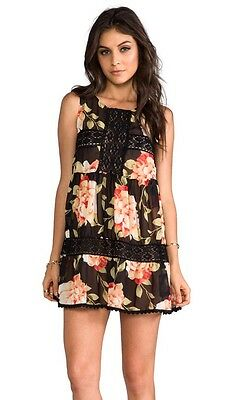 Jens Pirate Booty Nwt Happy Babydoll Dress In Black Floral Size S  M  Was  132