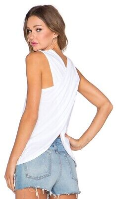 JAMES PERSE Cotton Wrap Back Tank In White Size 0 XS WIT3318
