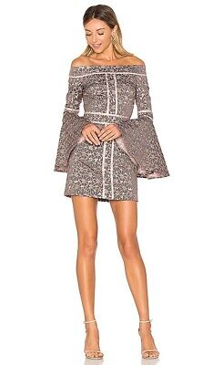 We Are Kindred Womens Brocade Alice Off The Shoulder Dress Grey Pink Small