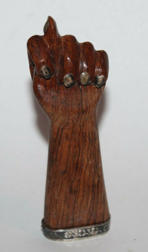 "FIGA Old Wood & Silver Tiny Figa Fist 4"" Tall"