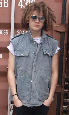 Ärmellos Denim Arbeitsjacke Weste 1970er Prison Kostüm Gerippt Neu