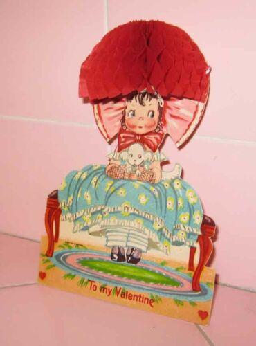Vintage 1930s Valentine Card 3-D Honeycomb To My Valentine Bonnet Germany