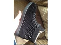 Black Christian Louboutin Suede High Top Spiked Men's Designer Red Bottom Trainers