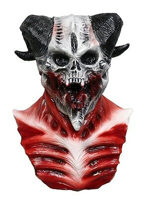 MASCARELLO Devil Skull Demon Horned Monster Scary Latex Halloween Costume Mask - Halloween Scary Monsters