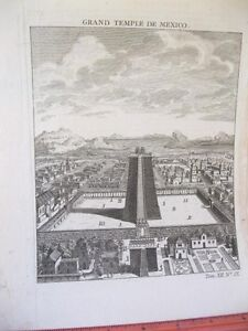 Vintage-Print-GRAND-TEMPLE-DE-MEXICO-18th-Century-Laid-Paper