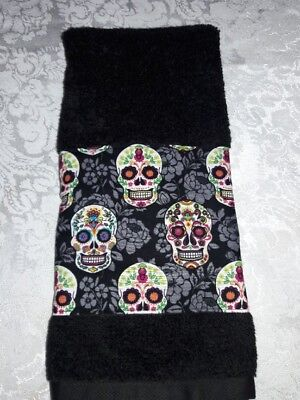 Sugar Skulls Hand Towel Great for Bars, Golf Bags and Bathroom & Kitchen Decor
