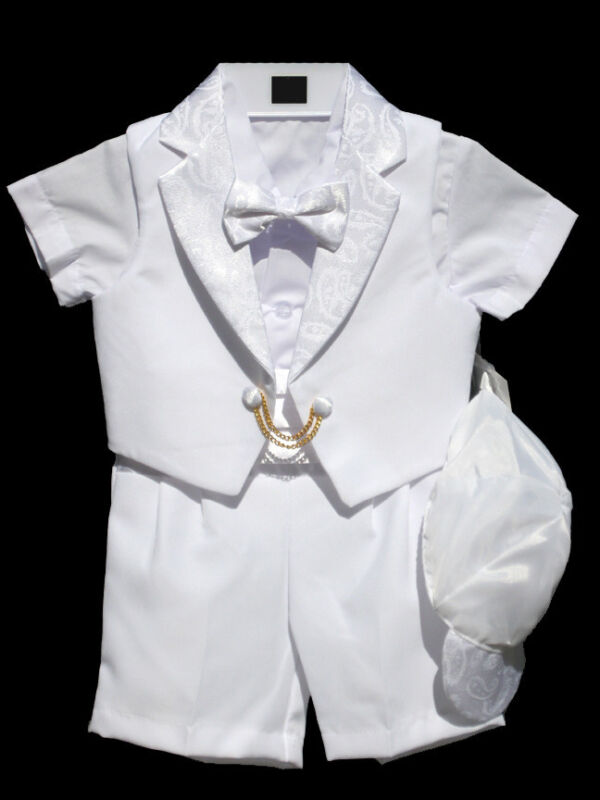 Boys Infant Toddler Christening Baptism Outfit Set White, SMALL to 4T