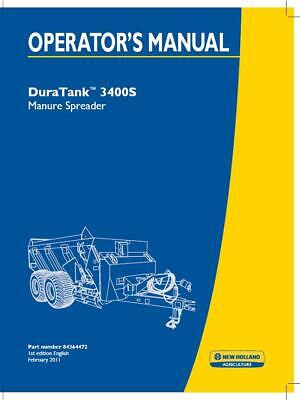 New Holland Duratank 3400s Manure Spreader Operators Manual