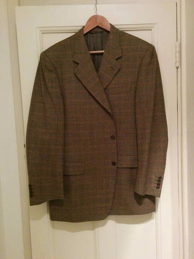 Italian Canali Mens Jacket, Like New, Light Check Brown, Size 54