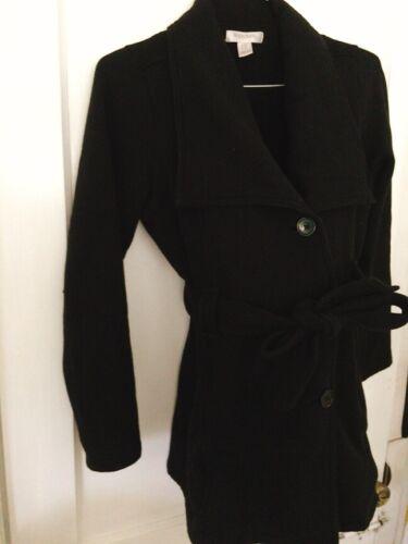Motherhood Maternity Black Pea Coat Medium Soft Warm Belted EUC