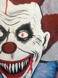 Freaky scary evil bloody Clown horror canvas painting Alternative art